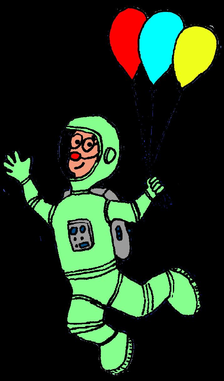 Dibuix de Ruskus Patruskus vestit d'astronauta flotant a l'espai agafat de tres globus