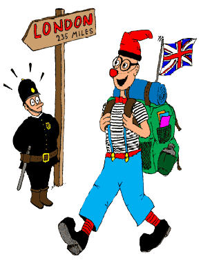 Drawing of Ruskus with a backpack and a British flag