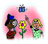 Un nen i una nena observant una papallona i una flor