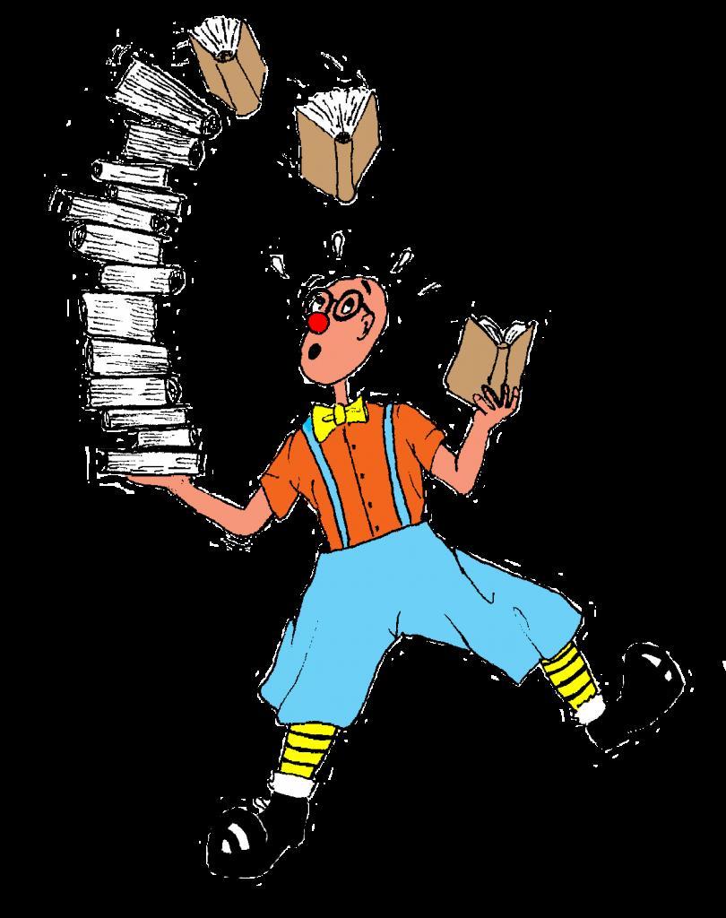 Dibuix d'en Ruskus aguantant una pila de llibres
