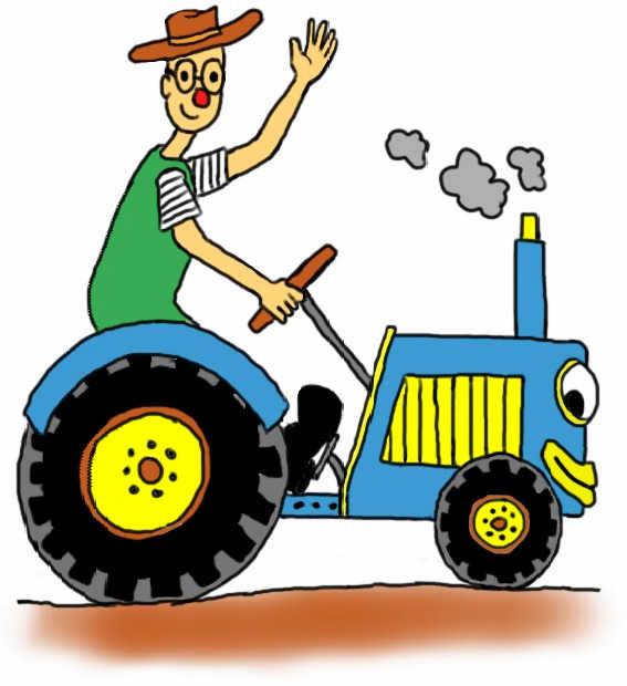 Dibuix de Ruskus conduint un tractor